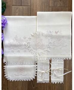 PL 079-L-P Венчальный набор лён вышивка пудра