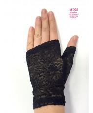 M 008 Перчатки черные кружевные короткие