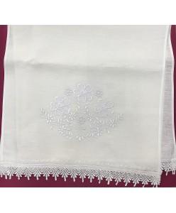 RU 058-01-L-1 Рушник  белый лён  вышитый длинный