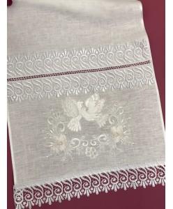 RU 100-1-iv Рушник широкий белый лён с голубками
