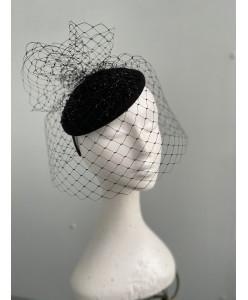 SH 639 Черная фетровая шляпка с вуалью