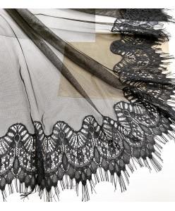 NK 087-black Шаль-палантин чёрный с натуральным кружевом