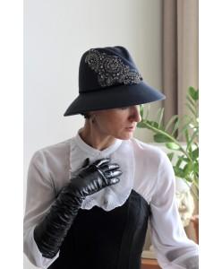 SH fetr 649 Шляпа с вышивкой цвета индиго