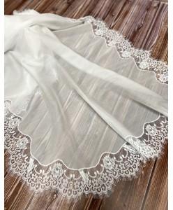 NK 009-silk Палантин-шаль БАТИСТ-ШЁЛК белый  с розами