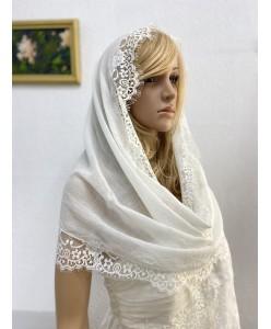 NK 075-1-iv  Шаль-шарф молочный-айвори тонкий хлопок с шантилье