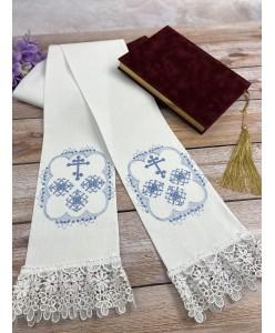 EV 002-106 Закладка в Евангелие из хлопка с небесной вышивкой