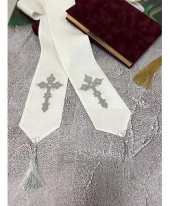 EV 003-silver Закладка в Евангелие из льна