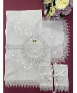 PL  083-xlop Набор венчальный белый хлопок  розы