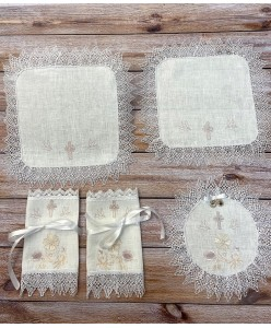 PL 105-mini Набор платочков на венчание в цвете пудра-беж  на льне