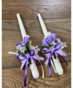 SV 016-fiolet Пара свічок з фіолетовими квітами