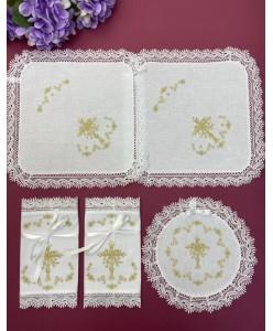 PL 086-5-gold-mini1  Набір без рушників золото бавовна