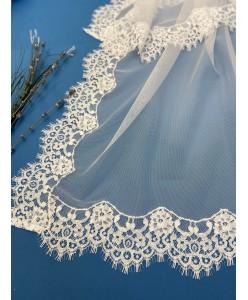 NK 108 Палантин-шаль біла сіточка-мереживо