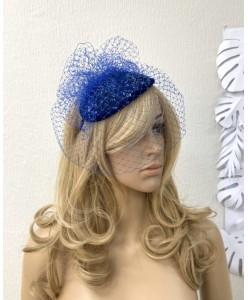 SH 122 Шляпка синяя с вуалью