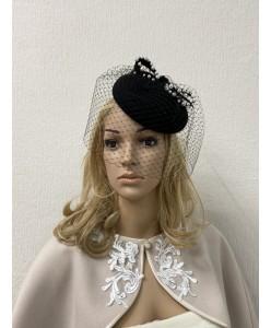 SH 287 Кокетливая черная фетровая шляпка с вуалью