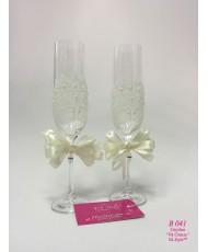 B 041 Свадебные бокалы с кружевом