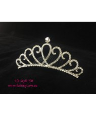 D 094 Диадема-корона в серебристом цвете