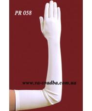 Атласные перчатки айвори с пальцами, выше локтя PR 058