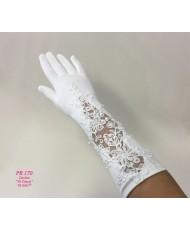 PR 170 Перчатки матовые белые кружево