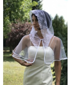 SHB 026 Накидка на венчание белого цвета