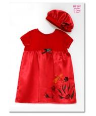 DP 001 Красное детское платье и берет