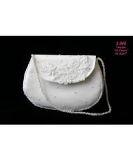 S 048 Белая сумочка с кружевом и бисером