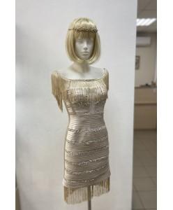V 164 Бежевое платье с паетками и бахромой
